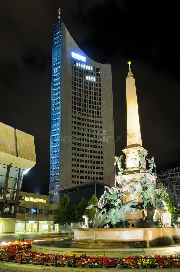 Augustus Platz in Leipzig royalty-vrije stock fotografie