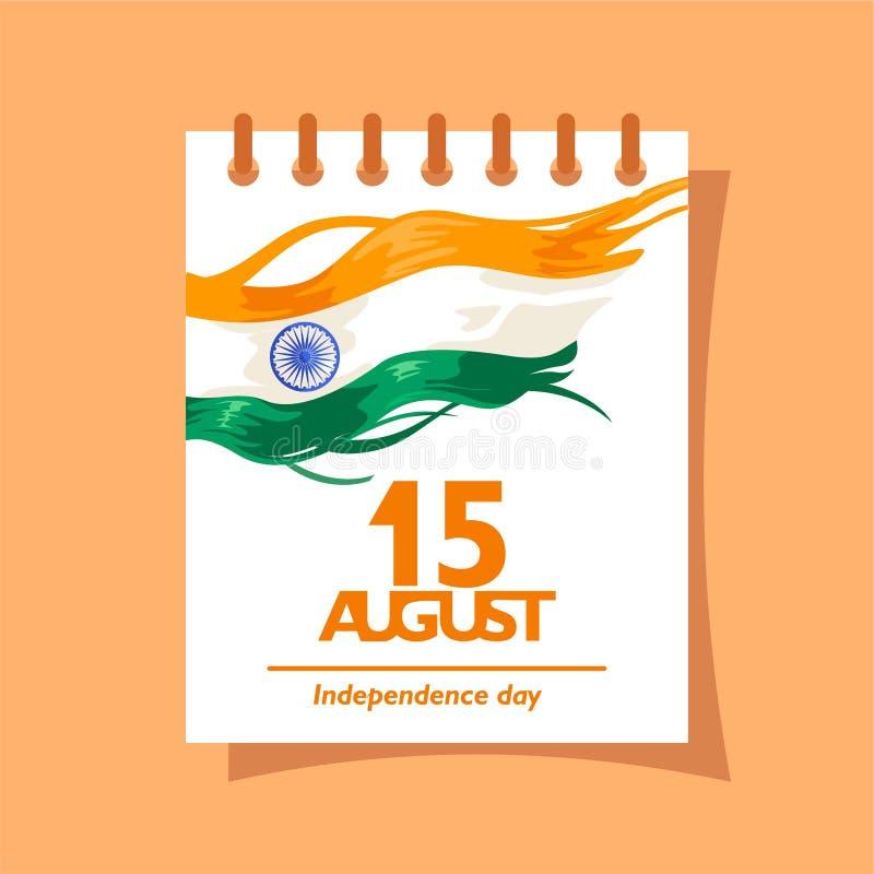 15 augustus-tekst op de kalender Voor embleem, pictogram en symbool van de onafhankelijkheidsdag van India royalty-vrije illustratie