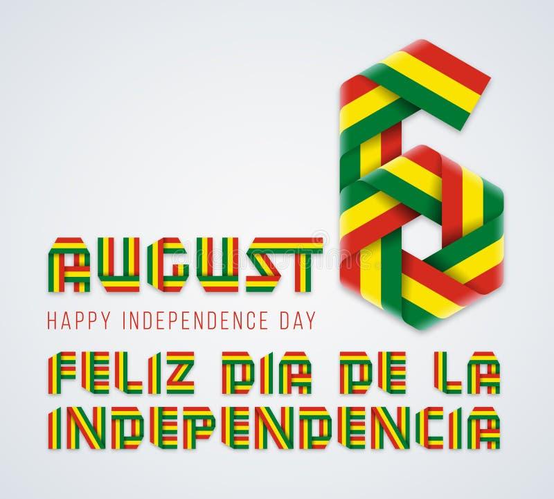 6 augustus, van de de Onafhankelijkheidsdag van Bolivië het felicitatieontwerp met Boliviaanse vlagkleuren Vector illustratie royalty-vrije illustratie
