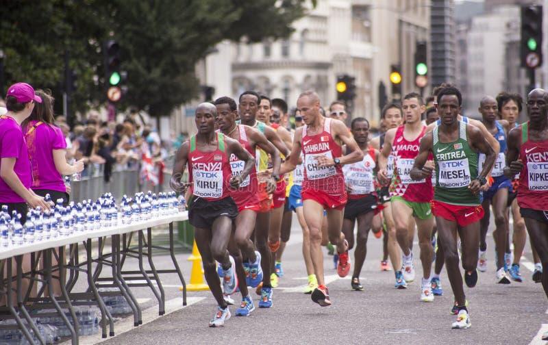 6 Augustus ` 17 - van de de Wereldatletiek van Londen de Kampioenschappenmarathon: Geoffrey KIRUI royalty-vrije stock foto's