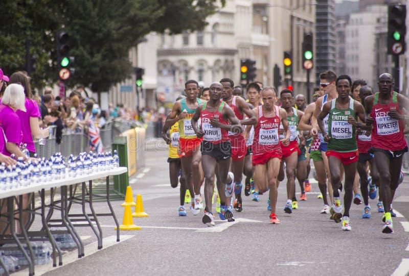 6 Augustus ` 17 - van de de Wereldatletiek van Londen de Kampioenschappenmarathon: Geoffrey KIRUI royalty-vrije stock foto