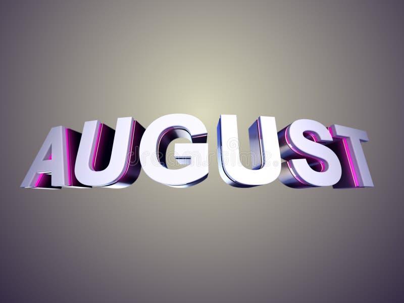 Augustus-woord van schuine rand glanzende brieven vector illustratie