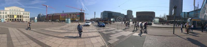 Augustusplatz square panorama, Leipzig, Germany stock images