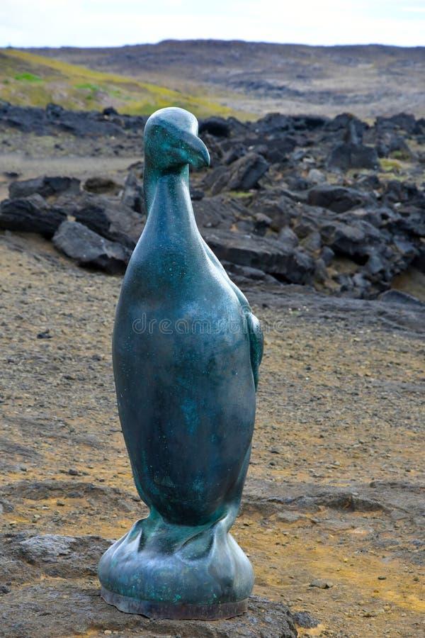 Auk sculpture. Sculpture of a great auk at thr rocky coast in Baejarfell, Reykjanes peninsula, Iceland stock photo
