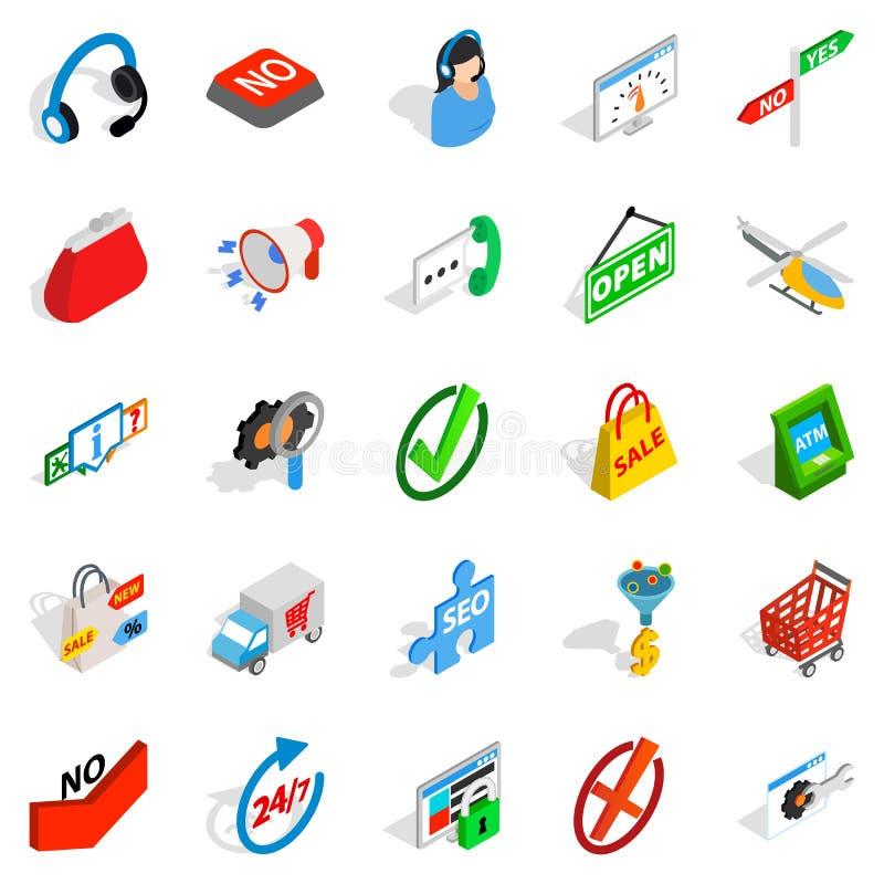 Aukcyjne ikony ustawiać, isometric styl ilustracja wektor