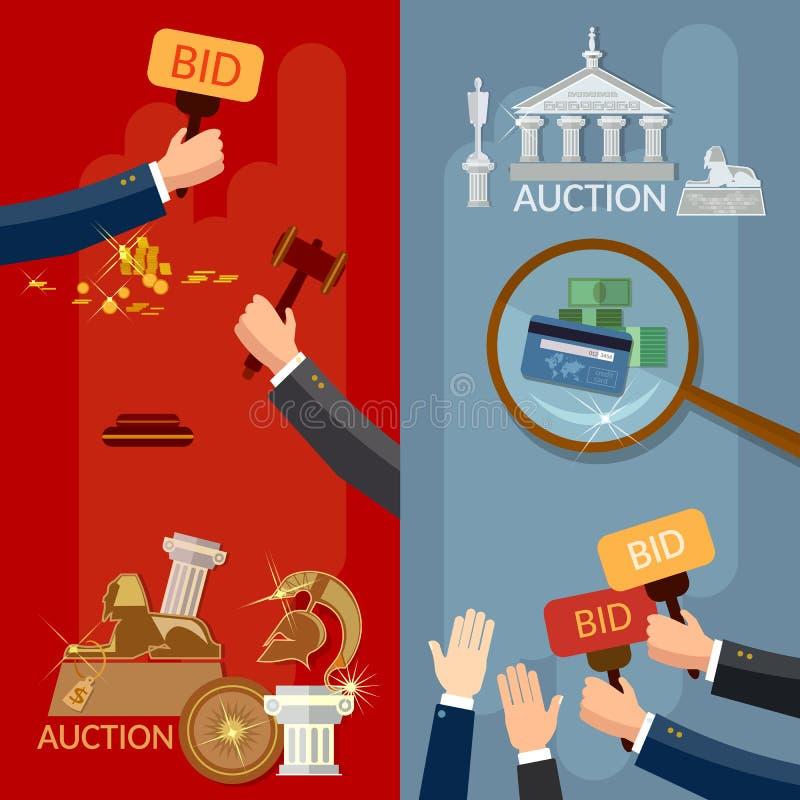 Aukcyjne sztandar ręki, pieniądze kupienia nieruchomość i antyki i royalty ilustracja