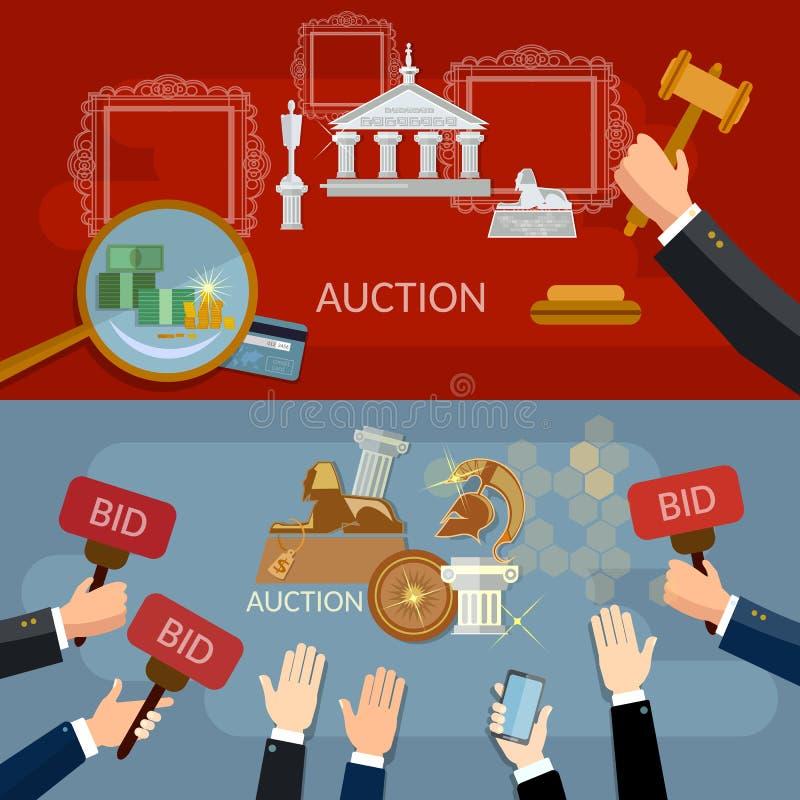 Aukcyjny i licytujący sztandary sprzedaje antyki royalty ilustracja