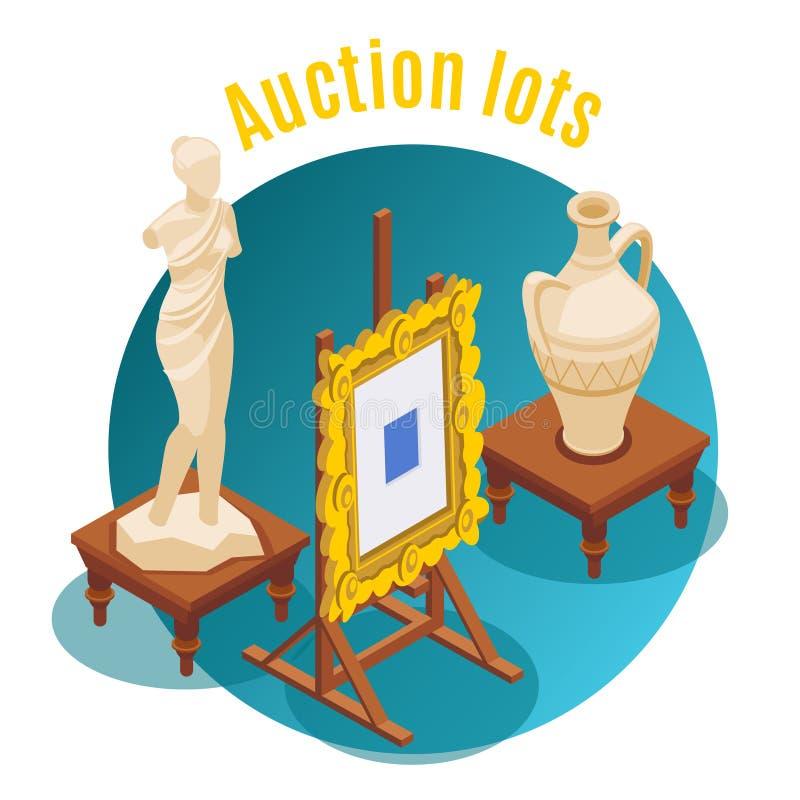Aukcyjny Isometric tło royalty ilustracja