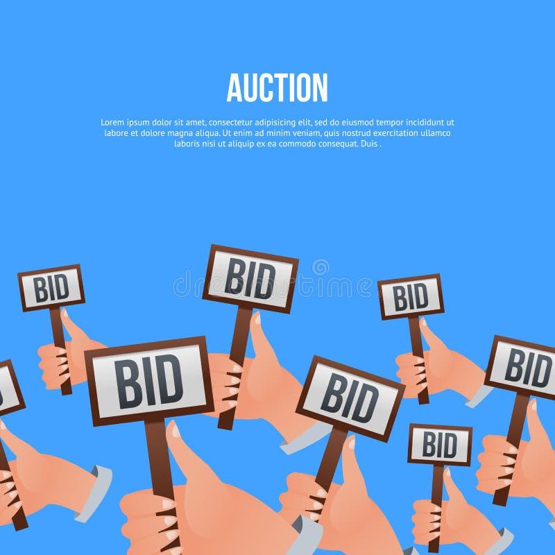 Aukcyjny plakat z rękami trzyma oferta znaki royalty ilustracja