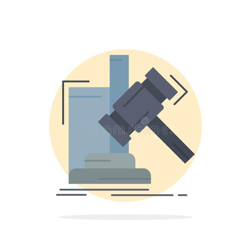 Auktion, Hammer, Hammer, Urteil, Gesetzflacher Farbikonen-Vektor lizenzfreie abbildung
