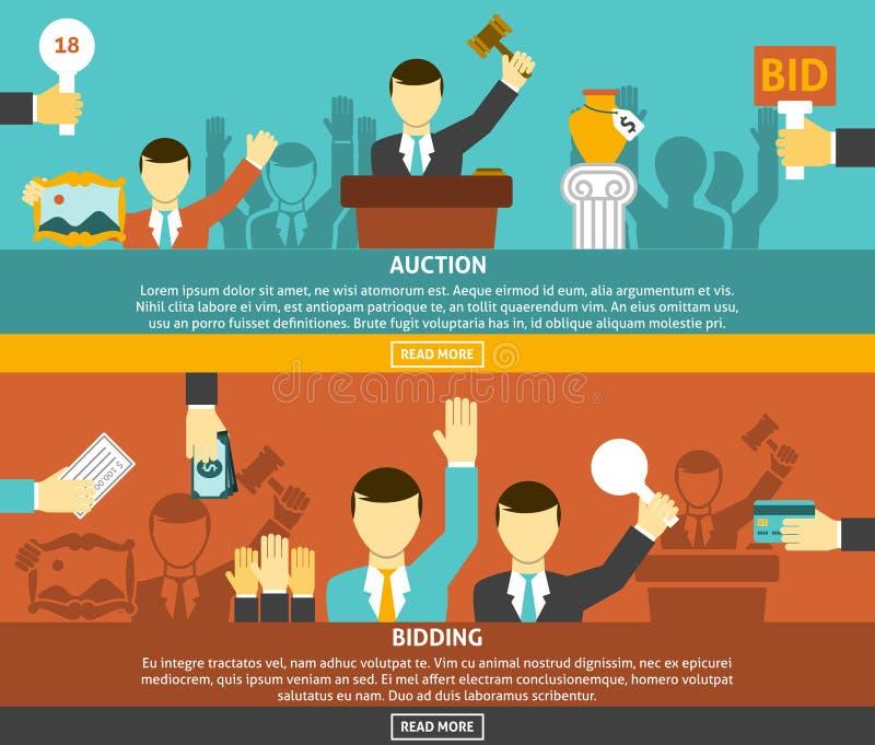 Auktion och bjuda baneruppsättningen stock illustrationer