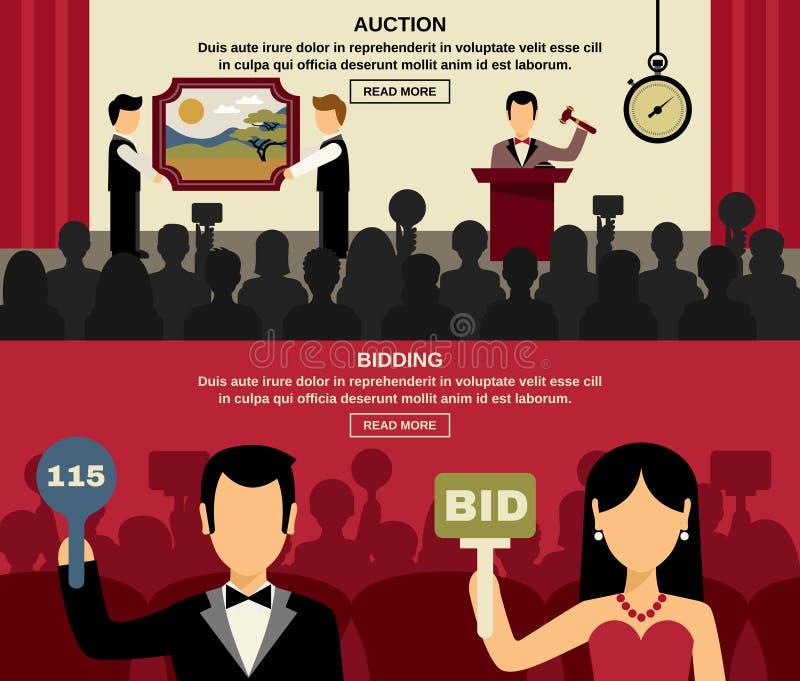 Auktion och bjuda baneruppsättningen vektor illustrationer
