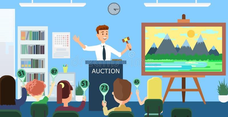 Auktion och bjuda Plan illustration för vektor stock illustrationer