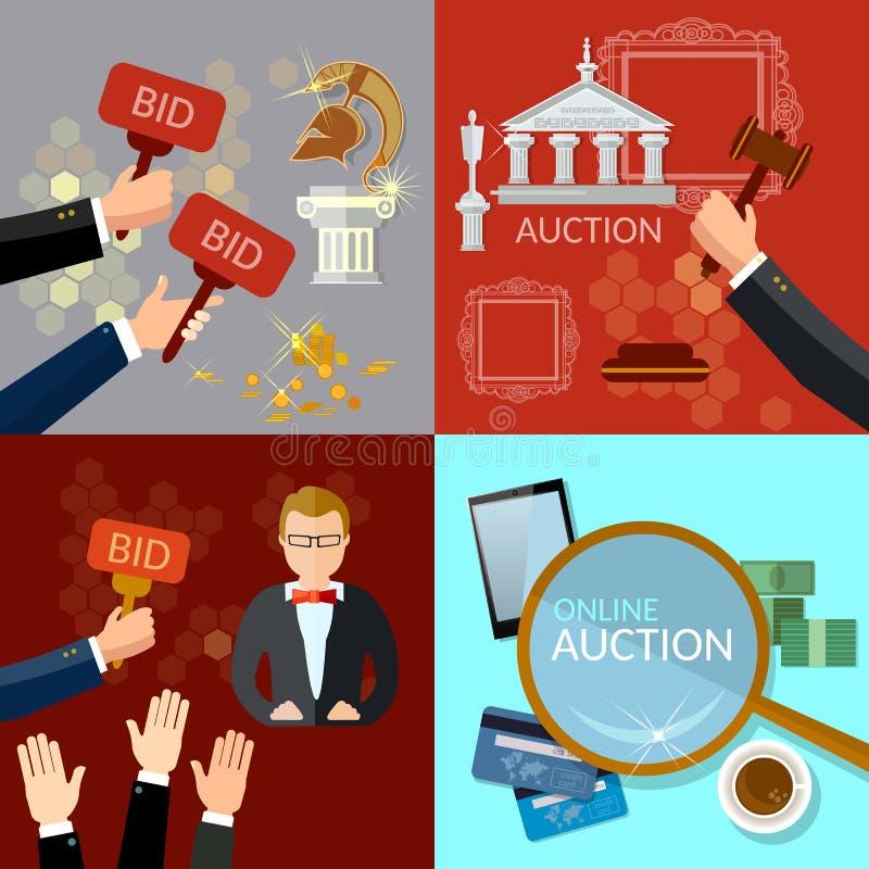 Auktion och bjudauppsättning vektor illustrationer