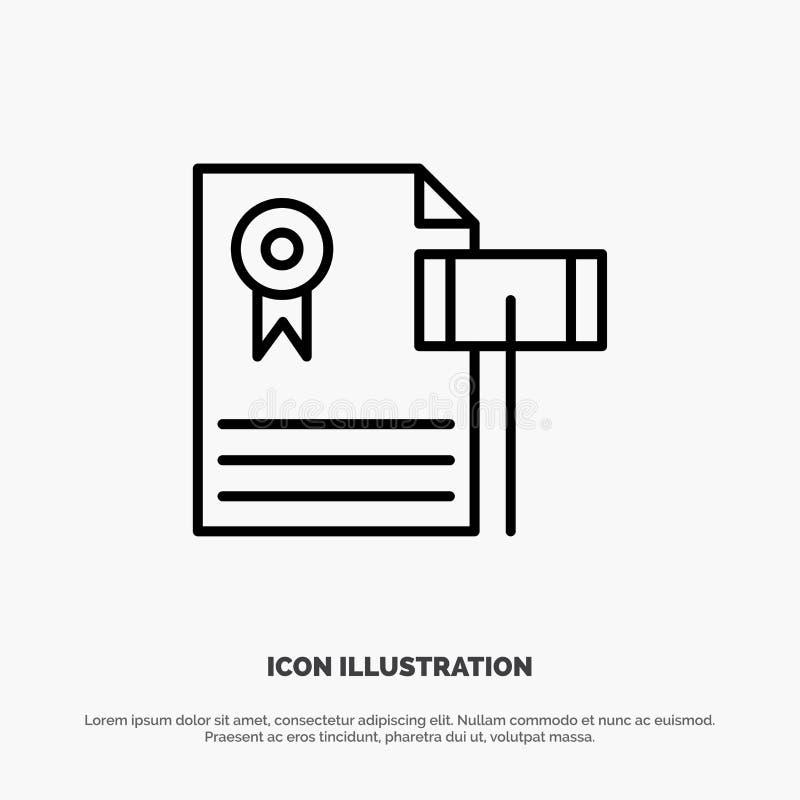 Auktion, Weinlese, teuer, Kies, Richter Line Icon Vector vektor abbildung
