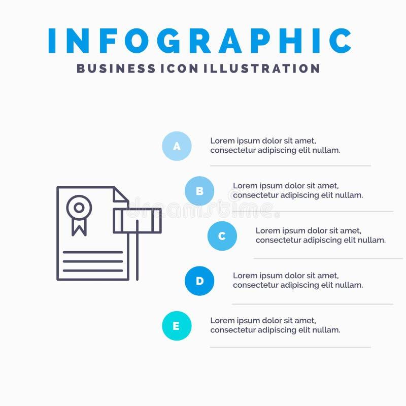 Auktion, Weinlese, teuer, Kies, Richter-Line-Ikone mit Hintergrund infographics Darstellung mit 5 Schritten stock abbildung