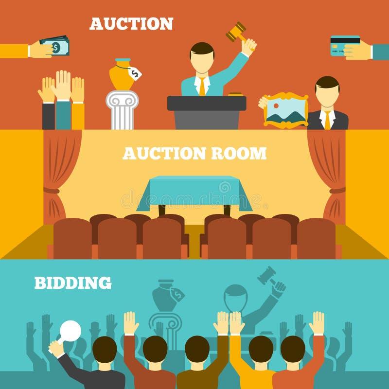 Auktionbaneruppsättning vektor illustrationer