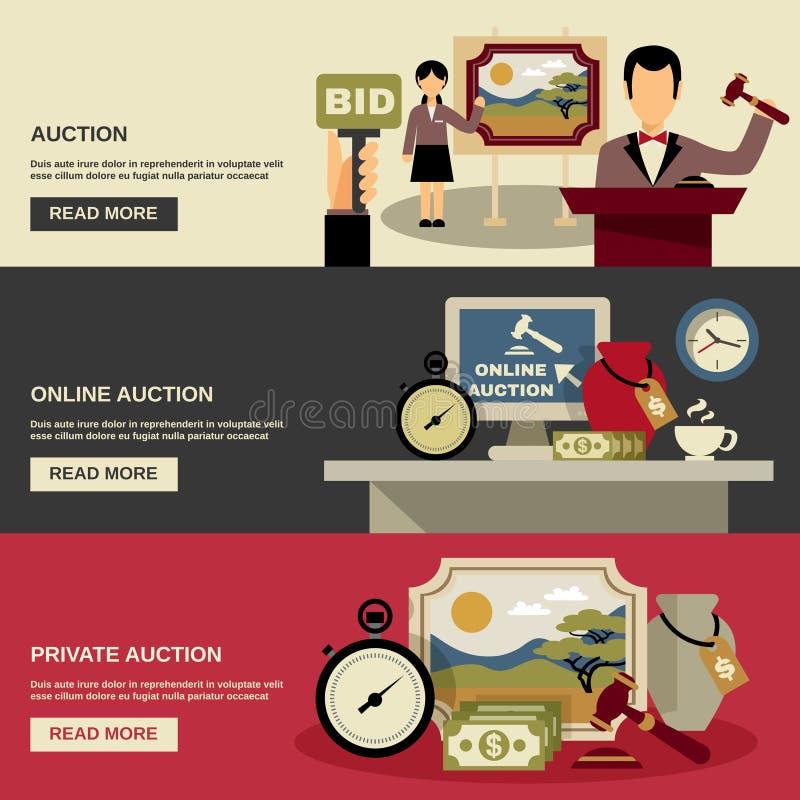 Auktionbaneruppsättning stock illustrationer