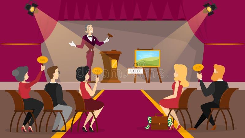 Auktionbegrepp Ta handling i auktion och bjudande pris stock illustrationer