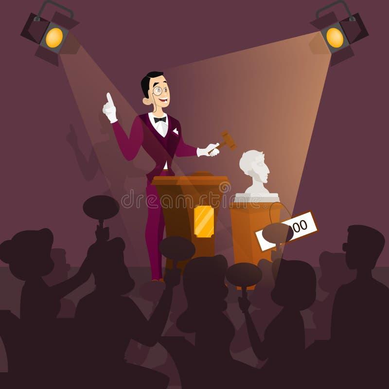 Auktionbegrepp Ta handling i auktion och bjudande pris vektor illustrationer