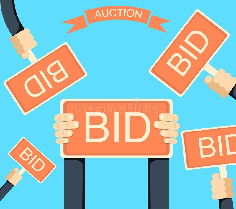 Auktionera bort och bjuda banret med händer som rymmer bords stock illustrationer