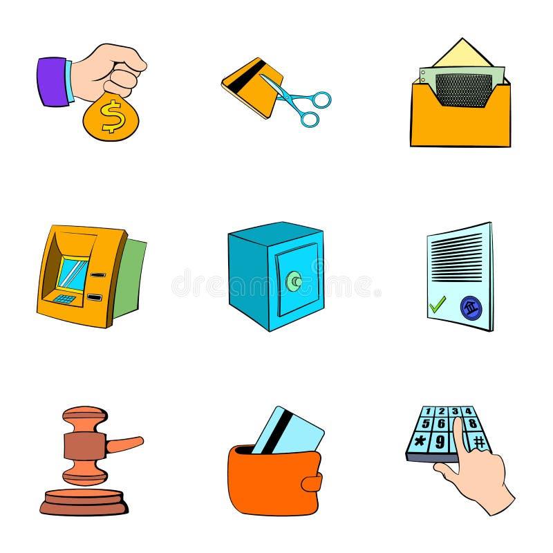 Auktionkortsymboler uppsättning, tecknad filmstil vektor illustrationer