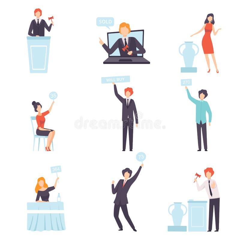 Auktions-Versteigerung eingestellt, Leute, die bieten und Bying-Waren im Auktionshaus und on-line, Auktionator, der Preise mit an vektor abbildung