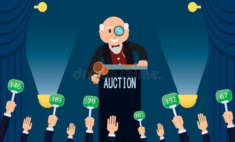 Auktionsförrättare och bjuda Plan illustration för vektor vektor illustrationer