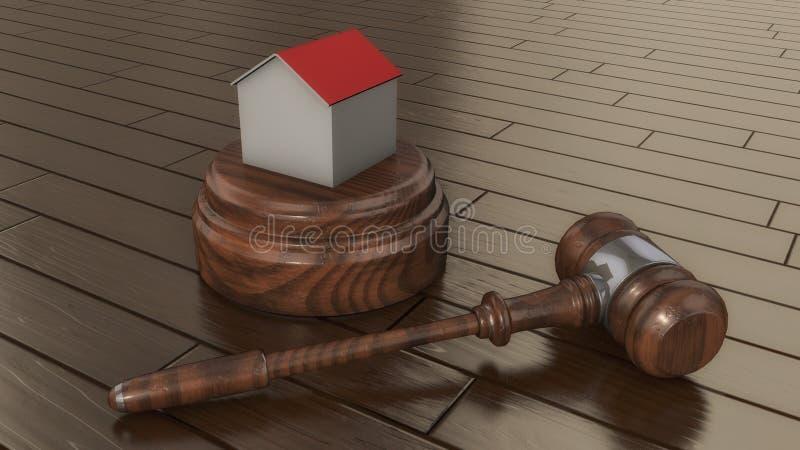 Auktionsklubba och hus för domare` s royaltyfri illustrationer