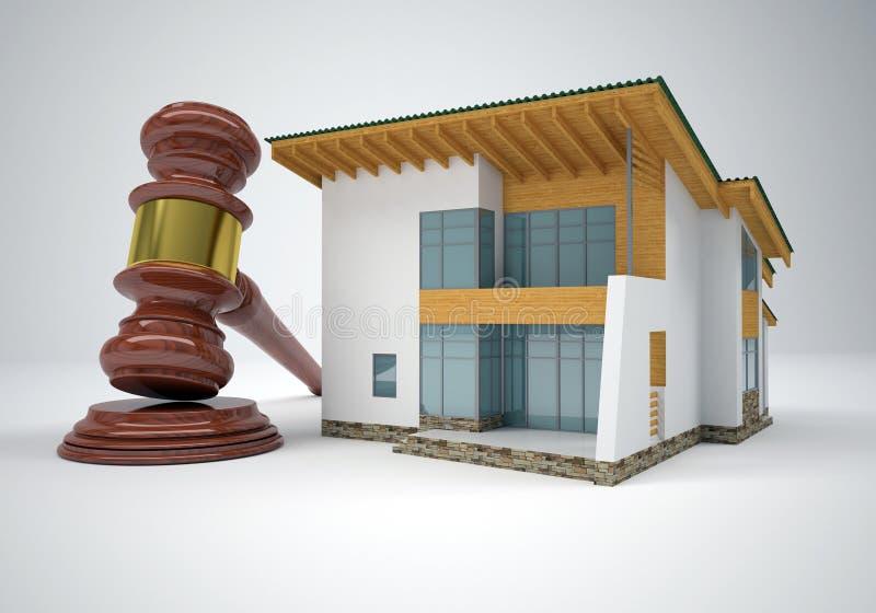 Auktionsklubba och litet hus royaltyfri illustrationer