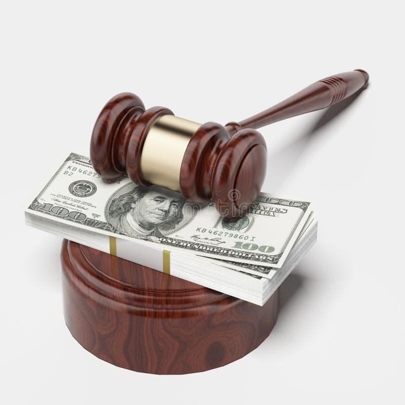 Auktionsklubba- och pengarbunt royaltyfri foto