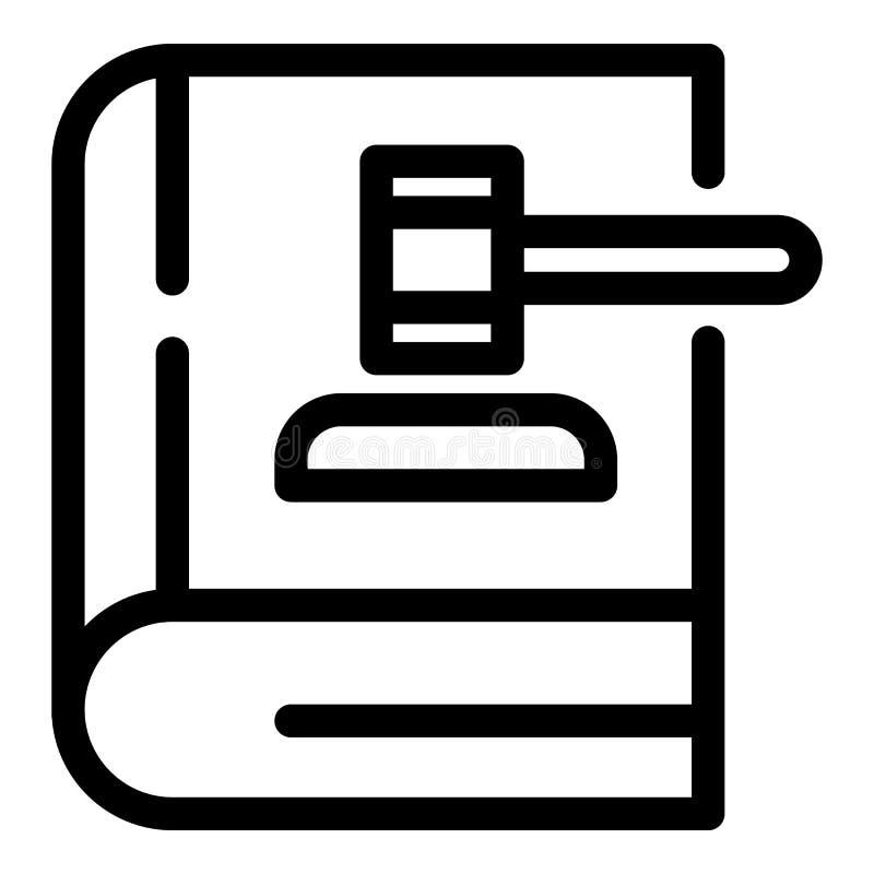 Auktionsklubba på symbolen för lagbok, översiktsstil royaltyfri illustrationer