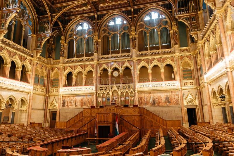 Aula av ungersk parlamentbyggnad royaltyfria foton