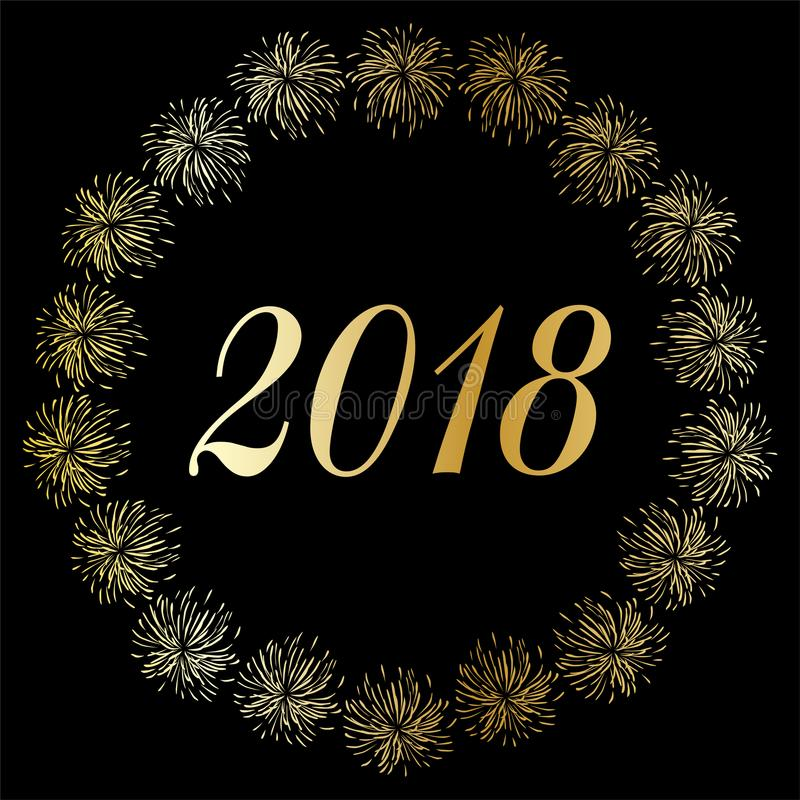 Auld Lang Syne 2018 i guld- konfettiram för silver royaltyfri illustrationer