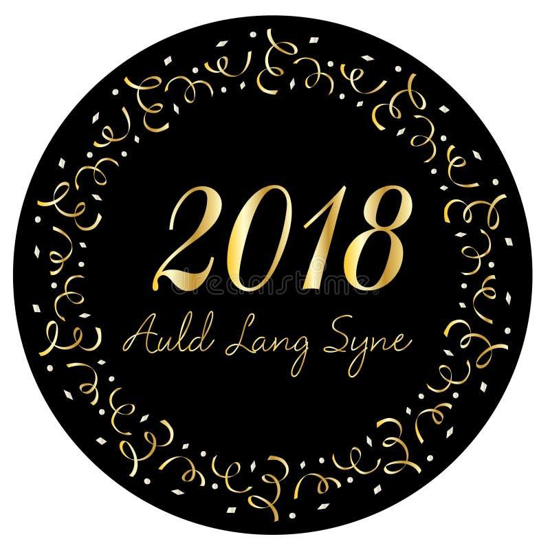 Auld Lang Syne 2018 i guld- konfettiram för silver stock illustrationer