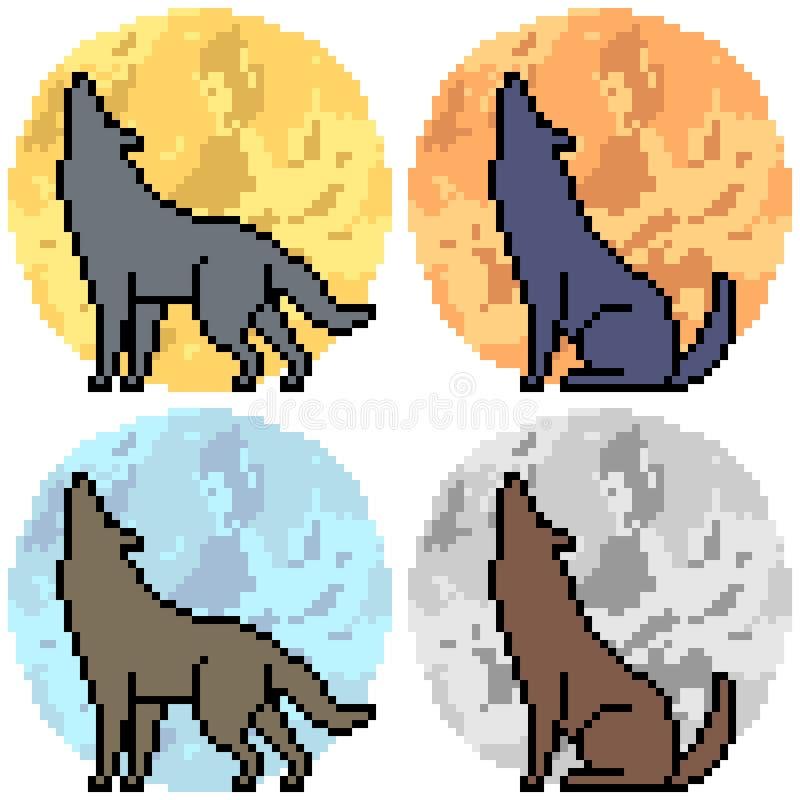 Aullido del lobo del arte del pixel del vector ilustración del vector