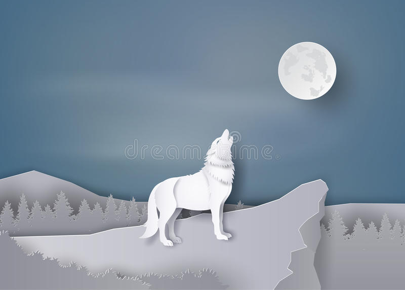 Aullido del lobo en el acantilado libre illustration