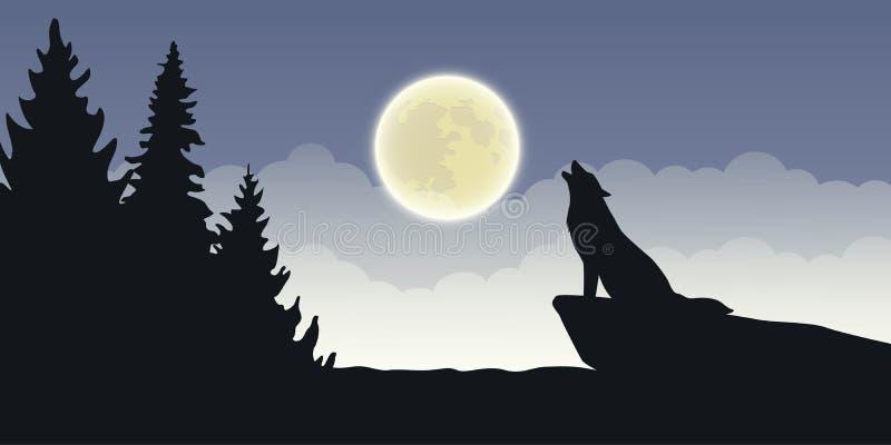 Aullidos del lobo en el paisaje místico azul de la naturaleza de la Luna Llena ilustración del vector
