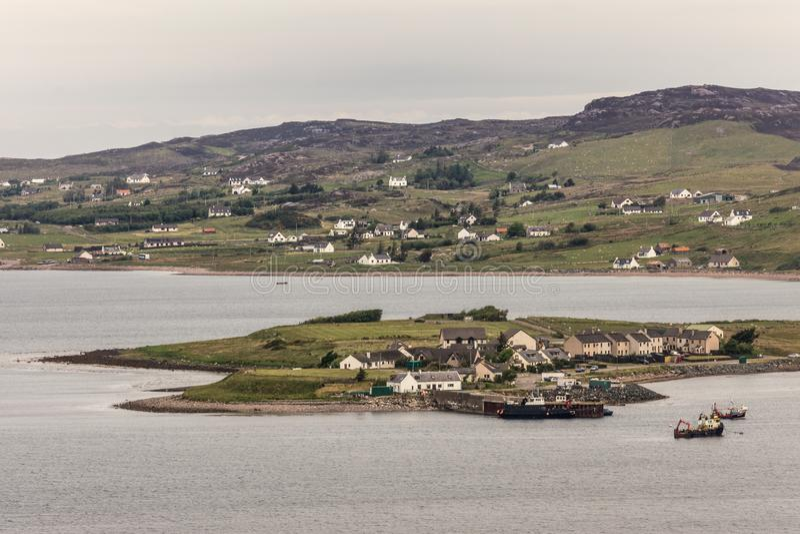Aultbea Harbor peninsula in Loch Ewe, NW Scotland. stock photos