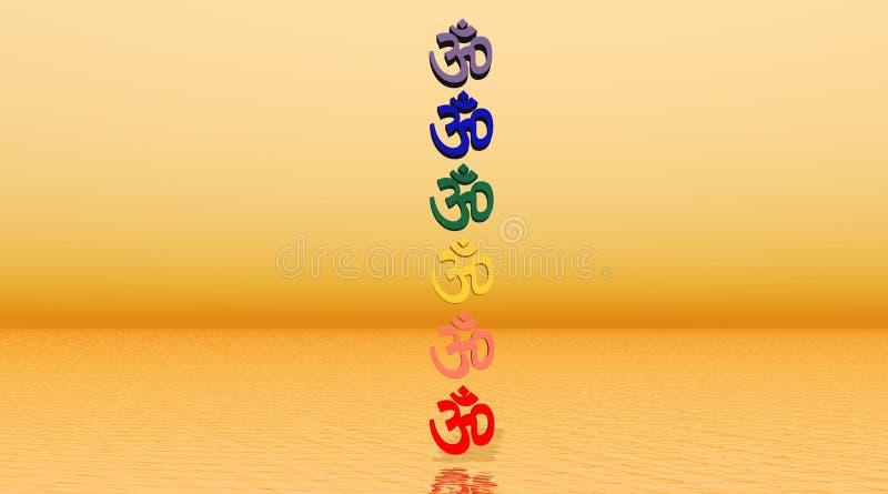Aum colorato/OM nella colonna di chakra illustrazione di stock