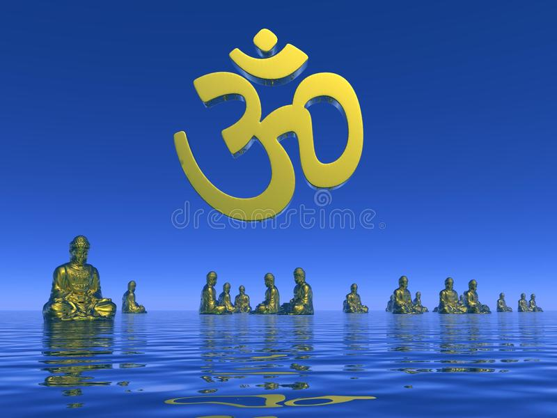 Aum meditation - 3D render stock illustration