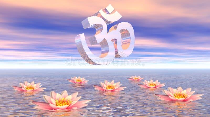 Aum - OM sur le lotus illustration de vecteur
