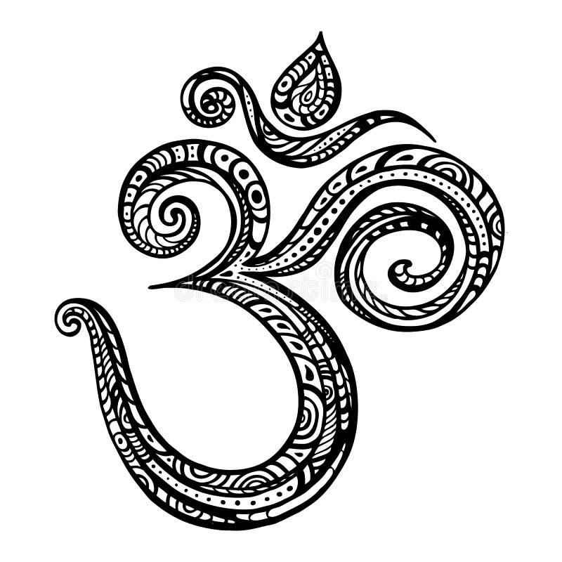 Aum, Om symbol. Om symbol Aum, ohm. Hand drawn detailed vector illustration royalty free illustration