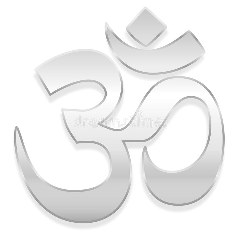 Aum Symbol Silver. Om or Aum symbol. Spiritual healing silver symbol of buddhism and hinduism - vector illustration on white background royalty free illustration