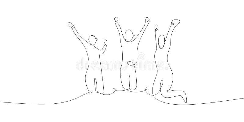 Aumentação de três pessoas feliz suas mãos com linha contínua projeto minimalista da ilustração do vetor do desenho da arte conce ilustração royalty free
