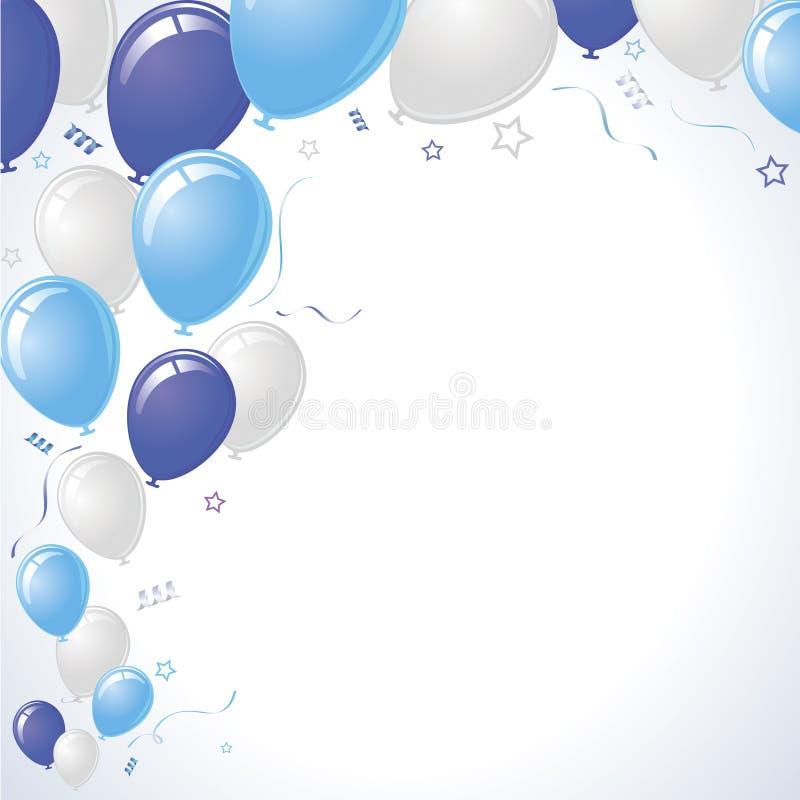 Aumentação dos balões do partido do azul e da cerceta ilustração stock