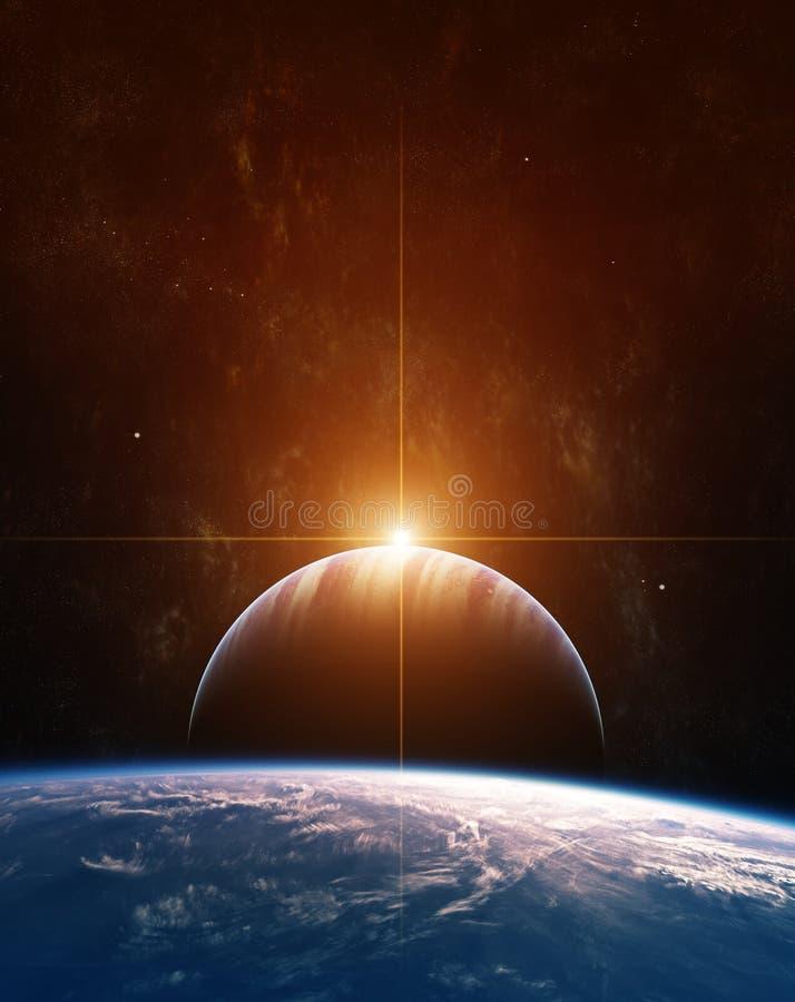 Aumentação Sun no planeta gigante do gás ilustração stock