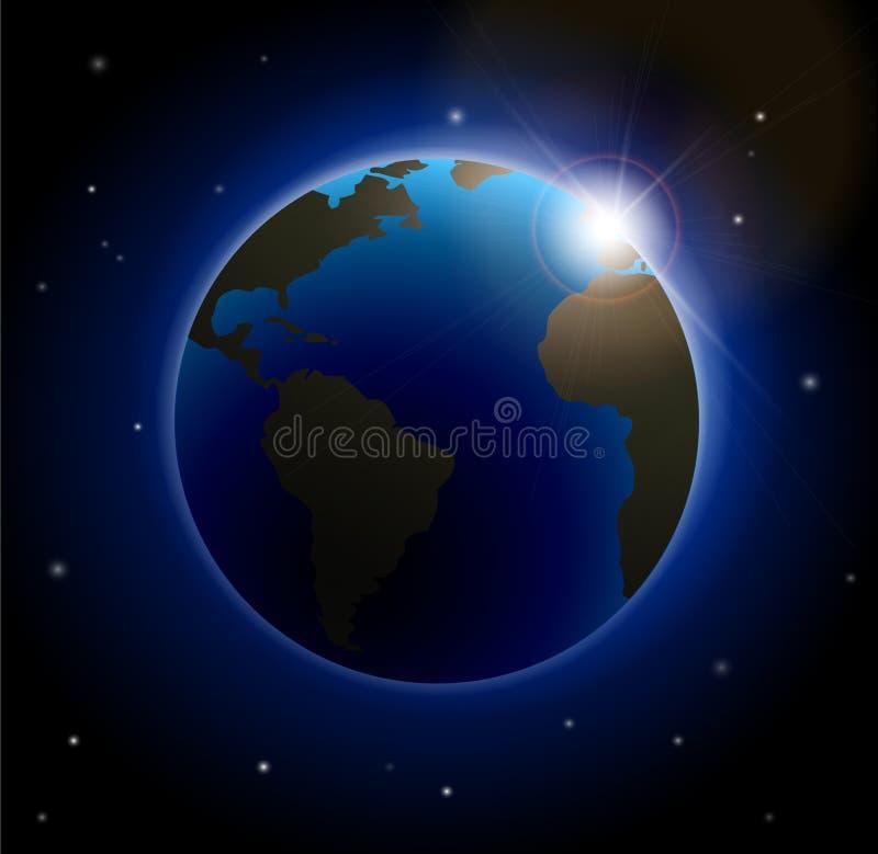 Aumentação Sun sobre a terra ilustração stock