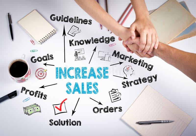 Aumente el concepto de las ventas Carta con palabras claves e iconos en el fondo blanco La reunión en la tabla de la oficina imagen de archivo