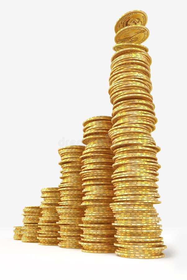 Aumente el gráfico de barras de dólares del oro fotografía de archivo